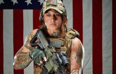 Kinessa Johnson, an ex marine who worked with VETPAW anti-poaching squads. Image: Survival international