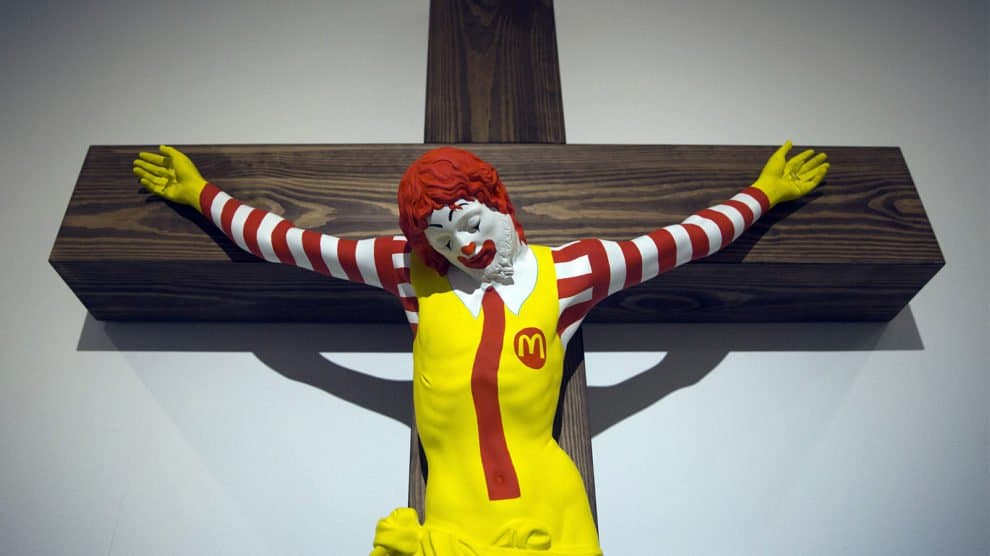 """The 'McJesus"""" Sculpture Of Ronald McDonald Crucified Has Caused An Uproar To Christians In Israel But Museum Refuses To Take It Down"""